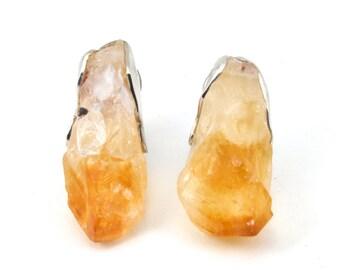 Citrine earring, crystal earrings, Silver earrings, studs ,silver citrine studs, citrine clip earrings, clip earrings, clip studs
