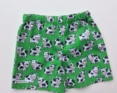 summer shorts, childrens clothes, unisex short pants, 3-4 ys 3T 4T, kids shorts, unisex kids shorts, childrens pants, farm pictures, cows