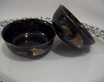 5 Black Ginkgo Bowls, Asian