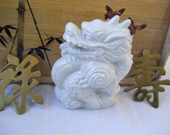 White Dragon Asian Porcelain Figurine Oriental Decor