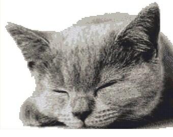 CROSS STITCH KIT- Sleepy Cat 30cm x 23cm