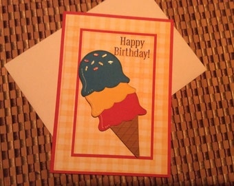 Handmade Greeting Cards:  Happy Birthday Card with Ice Cream Cone
