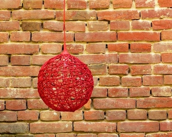 Red string sphere lamp / hanging lamp, pendant lighting