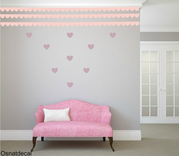 FREE SHIPPING Border Wall Decal & Hearts.Colors Pastel Pink And Light Purple. Nursery Wall Decal. Vinyl Wall Decal.  Housewares.