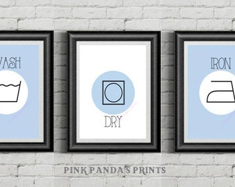 Wash, Dry, Iron, set of 3, prints, poster, laundry room, home decor, wall art, laundry room decor