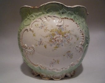 Antique Vintage Large French Limoges Jardiniere Centerpiece Planter Footed Bowl Vase Floral