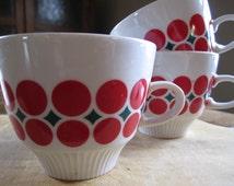 Vintage European Cafe Demitasse Colditz Germany Espresso Cup Trio Red Polka Dot
