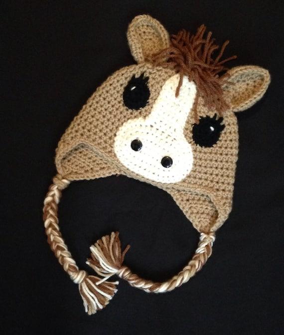 Amigurumi Horse Ears : Crochet horse beanie earflap hat chose colors sizes