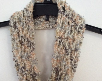 Soft Cream Crocheted Infinity Scarf
