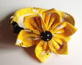 Yellow Bumble Bee Dog & Cat Flower Collar