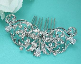 CZ Pearl Wedding Comb, Rhinestone Comb, Bridal Comb pearl, Wedding Crystal Hair Comb, Hair Comb, Wedding Accessory, Bridal Comb 214935392