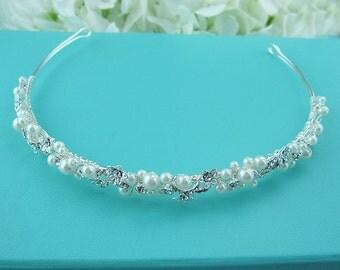 Crystal Wedding Headband, Bridal tiara headpiece, wedding headpiece, rhinestone tiara, crystal tiara, ivory wedding headband, 221657974