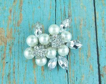 Rhinestone Flower Pearl Cluster Brooch, Wedding Brooch, Bridal Brooch, wedding brooches, wedding dress pin, bridal dress brooch 228536495