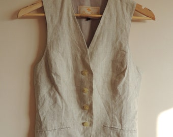 Vintage BRUCE FIELD beige striped linen vest with buttons, size 38