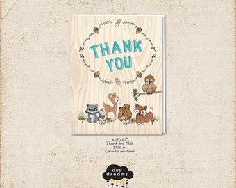 Woodland Creatures Thank You Notes - Woodland Animals with Deer Owl Fox Squirrel and Raccoon