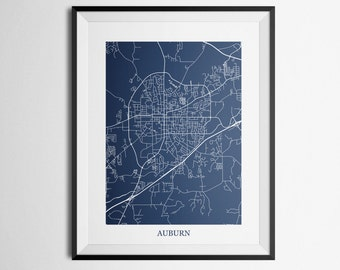 Auburn, Alabama Auburn University Abstract Street Map Print