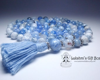 Blue Fire Agate, 108 bead hand-knotted mala for calming.
