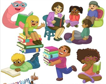 Story Time - Children and books Clip art