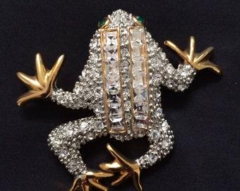 Rhinestone Frog Brooch, 1990's