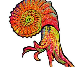 Ancient squid tattoo sticker by Kristian Terziev