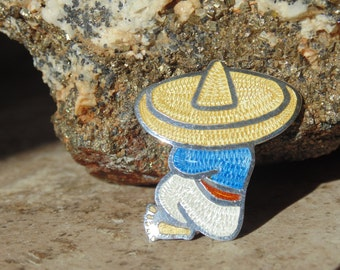 JF ~ Fuentes Sterling Silver and Enamel Hombre in Sombrero taking a Siesta