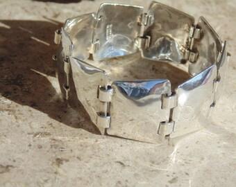 Abraham Paz ~ Signed Handmade Mexican Sterling Silver Link Bracelet