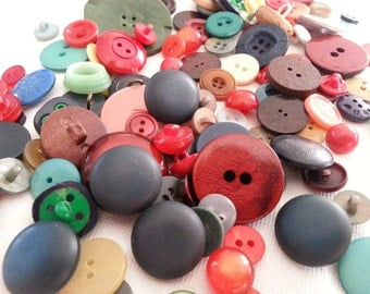 SALE! Lot of vintage and antique buttons (over 140 pcs) - colourful mix