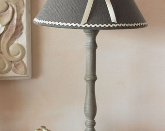 Lamp romantic patina - chic shabby - Medallion 'Angel face' - grey and off-white
