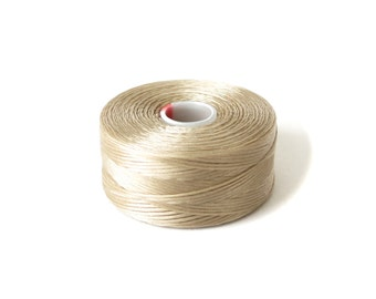 Light brown Superlon (S-Lon) beading thread, S-Lon Tex45 size D, 1x bobbin, stringing material for jewelry making, bead supplies UK