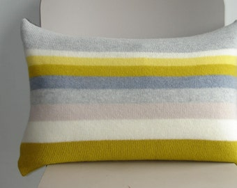 Knitted Cushion / Throw Pillow knitted in lambswool with feather cushion pad colour yellow grey / gray stripes