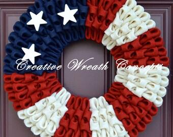 Patriotic American Flag Burlap Wreath