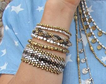 Beaded silver bracelet,Silver beaded bracelet,diamond bead silver bracelet, Bohemian Bracelet, Boho Bracelet, Bohemian Jewelry