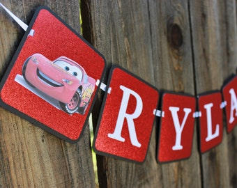 Cars Happy Birthday Banner featuring Mater and Lightening McQueen