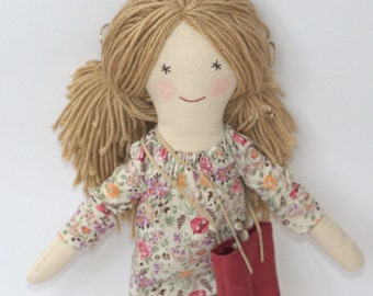 Hand made, rag dolls, modern doll, 18 inches fabric doll, yarn hair doll, cloth doll, shopper bag,