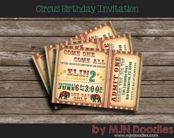 Vintage Circus Birthday Invitation, Carnival Party, Admit One, Elephants, Under the Big Top Party, First Birthday, 2nd Birthday, 1st bday