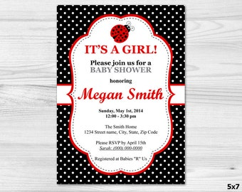 Ladybird Baby Shower Invitation - DIY Printable Custom Invitation: baby girl, black, ladybug, red, white, polka dot