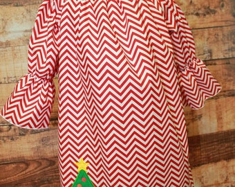 Red Chevron Christmas Tree Dress, Peasant Christmas Dress, Applique Christmas Dress