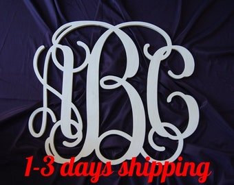 24 inch wooden monogram wall  hanging wedding guest book Unpainted