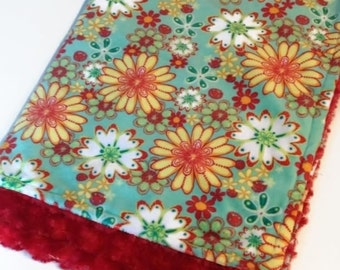 Double covering doudou soft minky reversible cayalou baby girl red flower