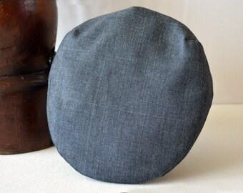 Gray Cotton Flat Cap - Pure Cotton Handmade Driving / Ivy / Flat Cap - Men Women Children