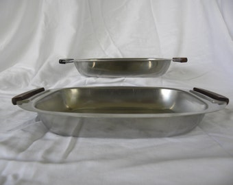 SVENSK DESIGN from Sweden-Pair of Stainless Steel 18/8 Serving Dishes**Mid Century Modern