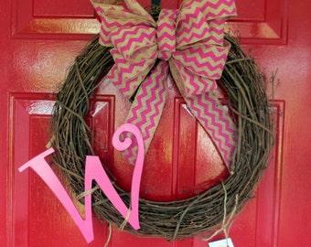 Monogram wreath, Front Door wreath, Spring wreath, Summer wreath, Grapevine Wreath, Pink Chevron Burlap Bow