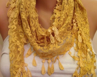 Yellow Lace Scarf , Spring Summer Scarf Yellow Scarf, floral pattern and rich edge, Womens Fashion, Gift for her, Friends Gift