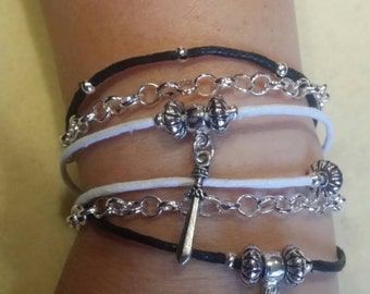 Wrap Around Dragon and Sword Bracelet on Faux Leather