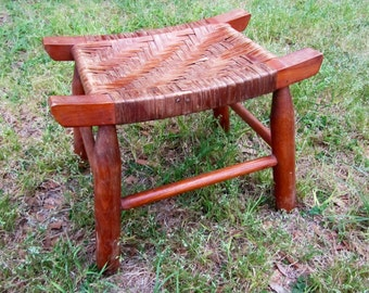 Vintage Woven Wooden Foot Stool / Wood Bench / Wood Seat