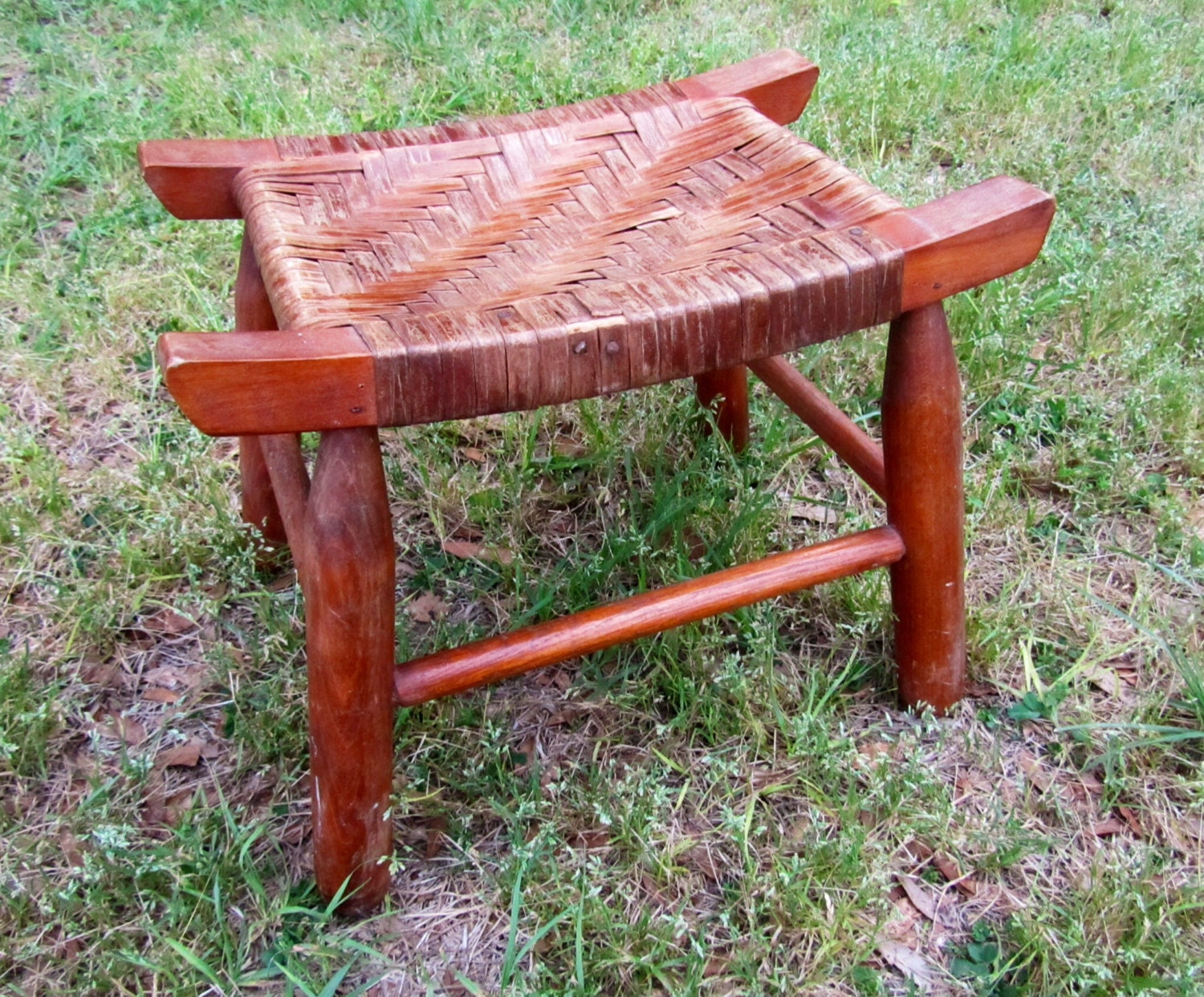Vintage woven wooden foot stool wood bench seat