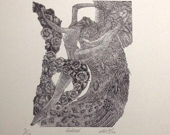 Orginal Hand Printed Wood Engraving - Gabriel