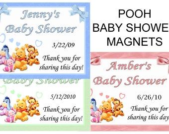 15 Winnie the Pooh Baby Shower Favors Personalized MAGNETS ~ FREE SHIPPING
