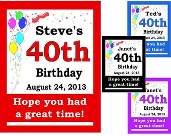 15 ~ 40th Birthday Party Favors Personalized MAGNETS ~ FREE SHIPPING