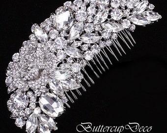 Bridal  Tiara Bridal hair comb Silver Plated crystal wedding hair accessory